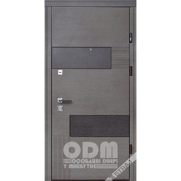Входные двери STRAJ Стандарт Volcano/Плоская (венге серый горизонтальный)