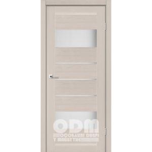 Двери ARONA Дуб латте, стекло сатин белый