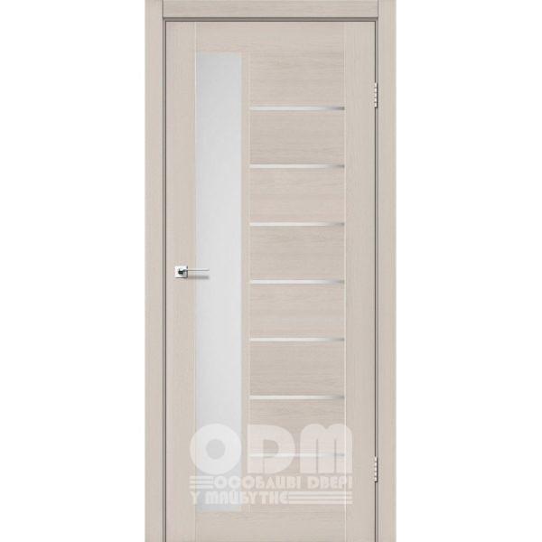 Двери LORENZA Дуб латте, стекло сатин белый