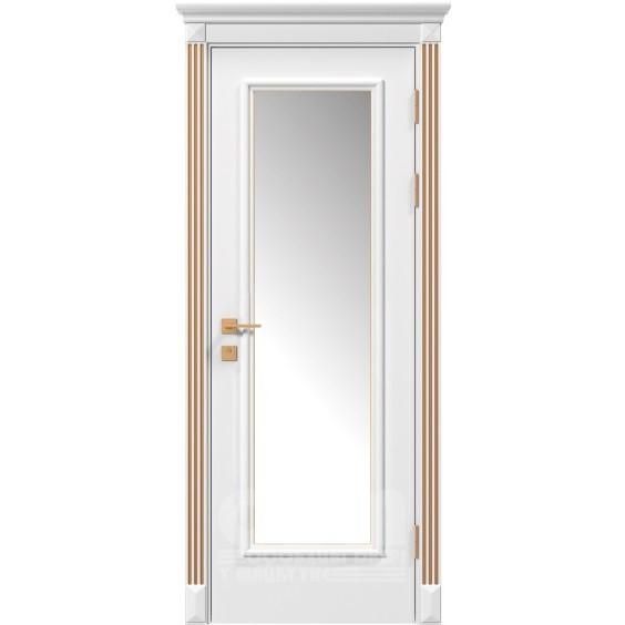 Двери Siena Asti со стеклом рис.3, белый матовый + Патина