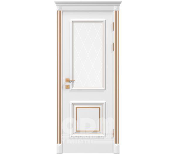 Двери Siena Laura со стеклом рис.3, белый матовый + Патина