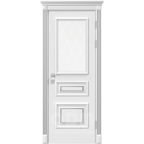 Двери Siena Rossi со стеклом рис.3, белый матовый + Патина