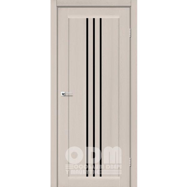 Двери VERONA Дуб латте, стекло черное