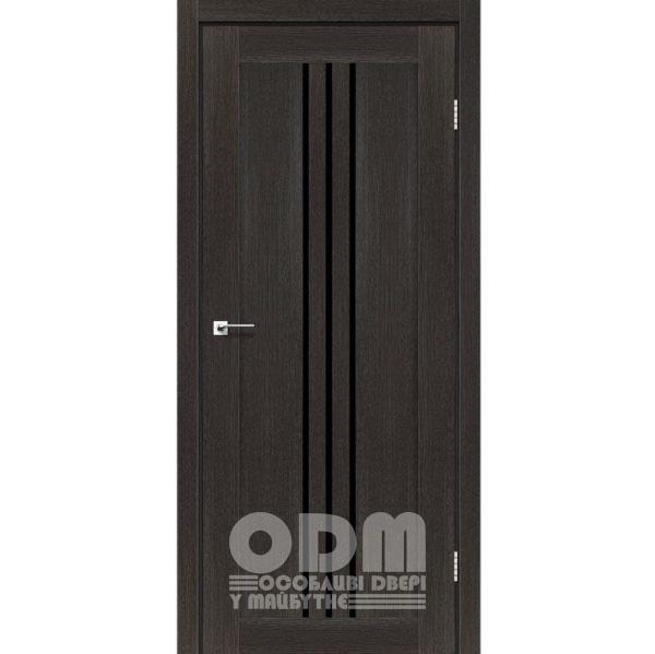 Двери VERONA Дуб саксонский, стекло черное