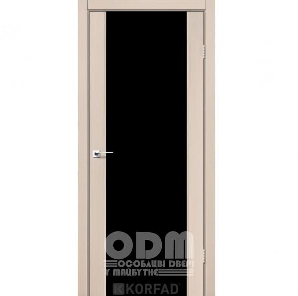 Двери SR-01 Дуб беленный, триплекс чёрный