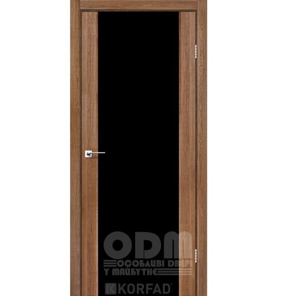 Двери SR-01 Дуб Браш, триплекс чёрный