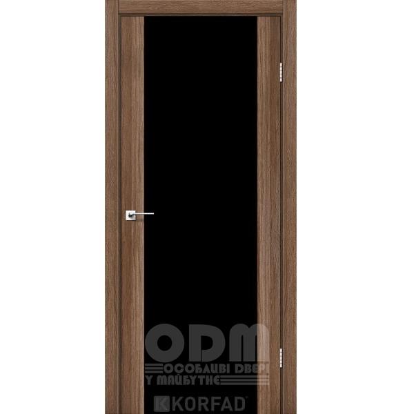 Двери SR-01 Дуб Грей, триплекс чёрный