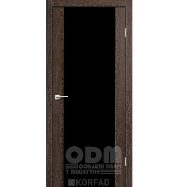 Двери SR-01 Дуб нордик, триплекс чёрный