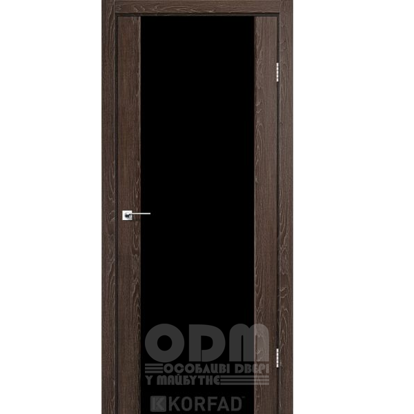 Двери SR-01 Дуб Марсала, триплекс чёрный