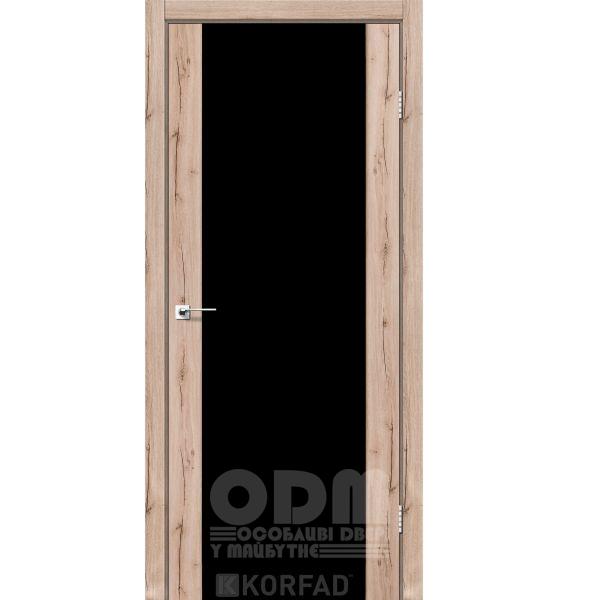 Двери SR-01 Дуб Тобакко, триплекс чёрный