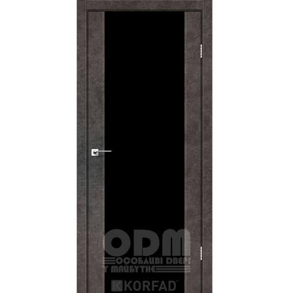 Двери SR-01 Лофт Бетон, триплекс чёрный