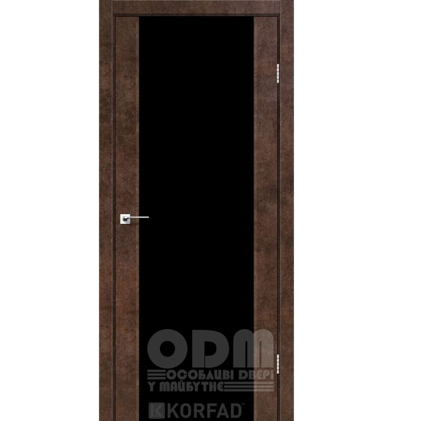 Двери SR-01 Арт Бетон, триплекс чёрный