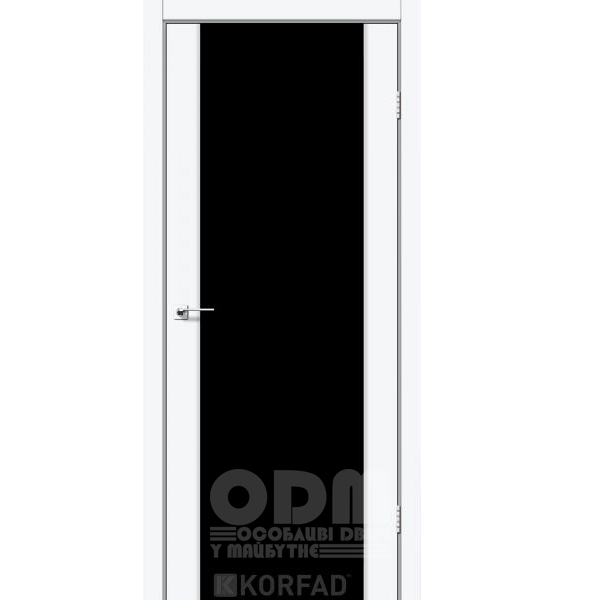 Двери SR-01 Белый перламутр, триплекс чёрный