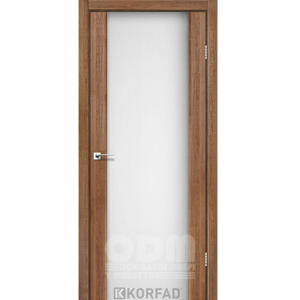Двери SR-01 Дуб Браш, триплекс белый