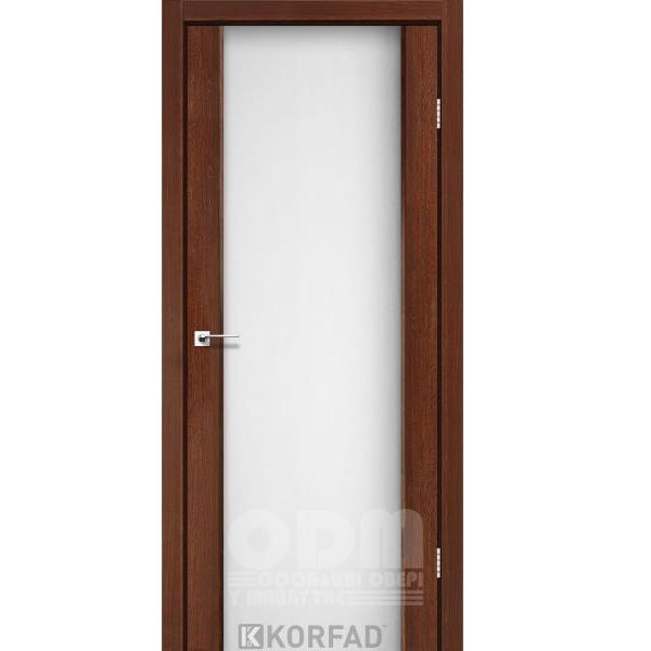 Двери SR-01 Орех, триплекс белый
