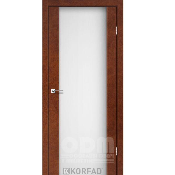 Двери SR-01 Сталь кортен, триплекс белый