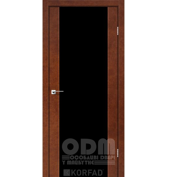 Двери SR-01 Сталь кортен, триплекс чёрный